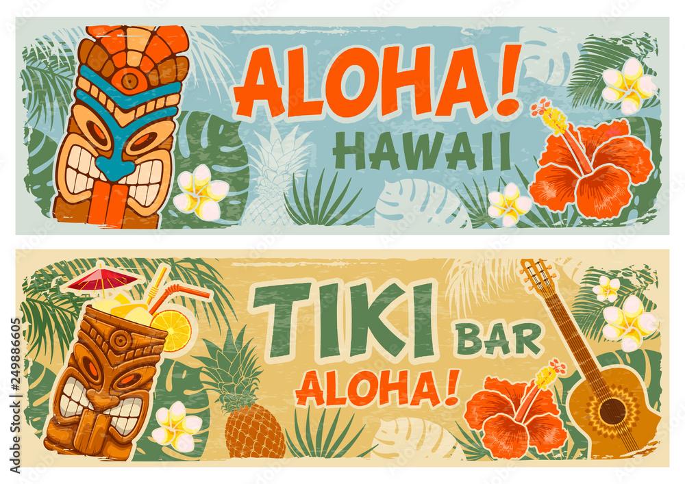 Fototapeta Horizontal Banners Set In Hawaiian Style