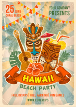 Hawaiian Beach Party Poster Te...