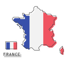 France Map And Flag . Modern S...