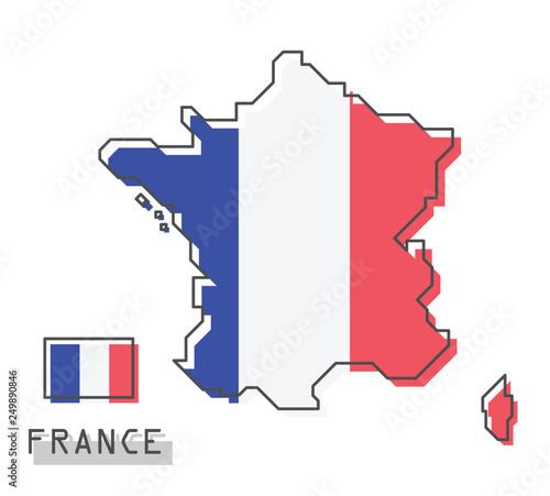 Obraz France map and flag . Modern simple line cartoon design . Vector . - fototapety do salonu