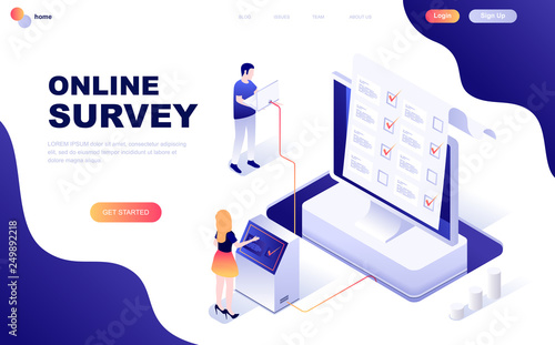 Fotografija  Modern flat design isometric concept of Online Survey decorated people character for website and mobile website development