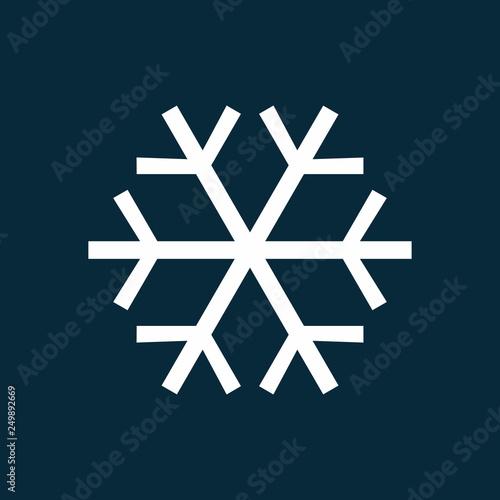 Fototapeta White snowflake simple icon vector illustration isolated on blue background obraz na płótnie