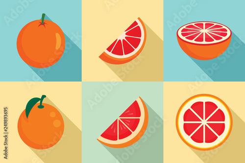 Fotomural Grapefruit icons set