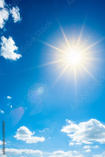 Fototapeta Summer background, wonderful blue sky with bright sun