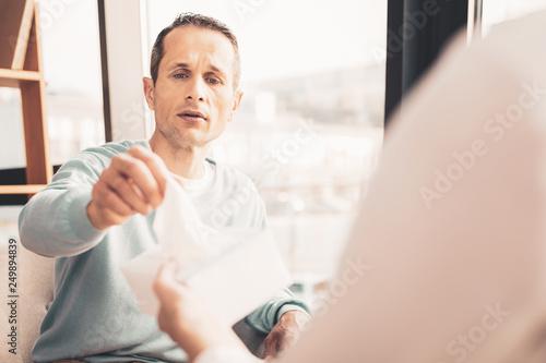 Fotografie, Obraz  Curious stressed man visiting psychotherapist