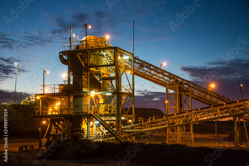 Fotografie, Obraz Night view of a copper mine head in NSW Australia