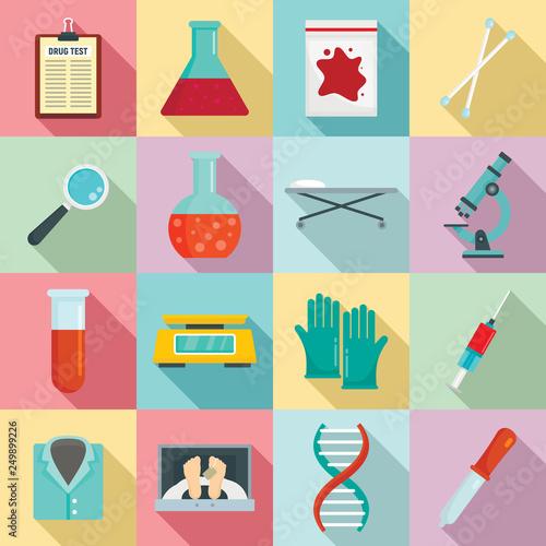 Fotografie, Obraz Forensic laboratory icons set