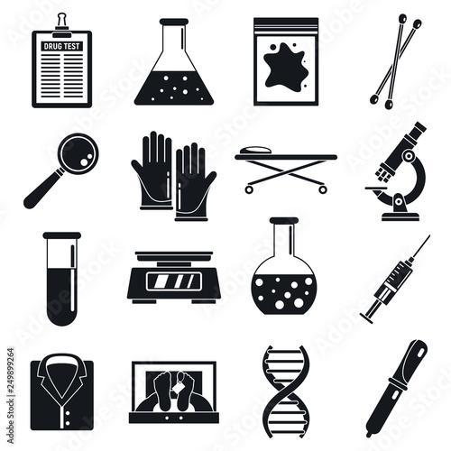 Fototapeta Police expert laboratory icons set