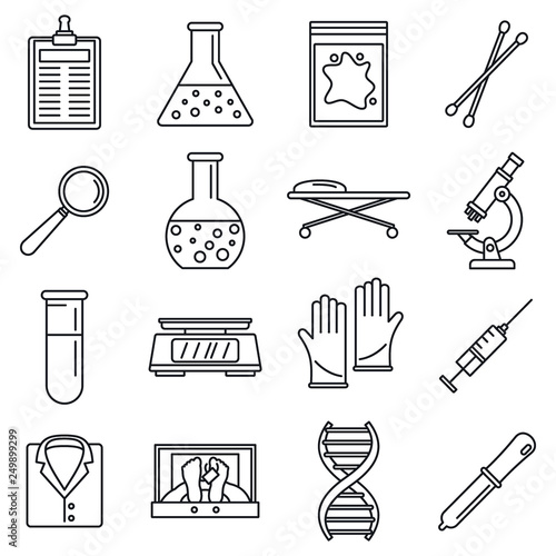 Fototapeta  Dna investigation laboratory icons set