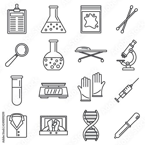 Fotografie, Obraz  Dna investigation laboratory icons set