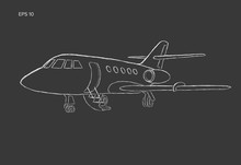 Private Jet Vector Hand Drawn Sketch. Business Jet Illustration Chalk Style.