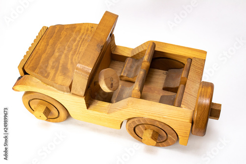 Top View of A Wooden Toy Jeep Car