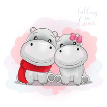 Two Cute Hippo Love Each Other