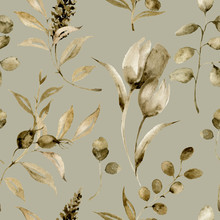 Watercolor Monochrome Tulip Seamless Pattern. Hand Painted Sepia Flowers And Berries With Eucalyptus Leaves And Branch Isolated On Vintage Background For Design, Print Or Fabric.