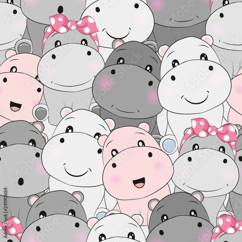 Valokuva cute baby hippo seamless pattern