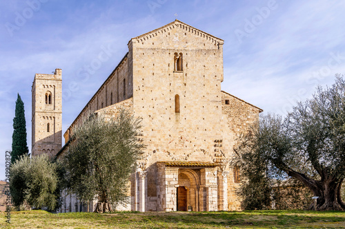 The facade of the beautiful Abbey of Sant'Antimo, Montalcino, Siena, Tuscany, It Wallpaper Mural