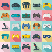 Joystick Icons Set. Flat Set O...