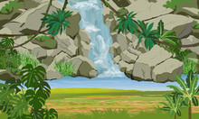 Waterfall With Jungle. Rocks, Tropical Plants, Coast Covered With Grass. South America And Africa. Realistic Vector Landscape