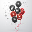 Realistic red and black balloons on a light background. Can be used to design a postcard in honor of black Friday, vector illustration
