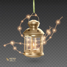Golden Lantern With A Glowing Candle, Hanging Lantern Surrounded By Shiny Stars