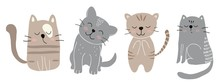 Childish Vector Set With Cute Cats. Vector Illustration For Textile,fabric.