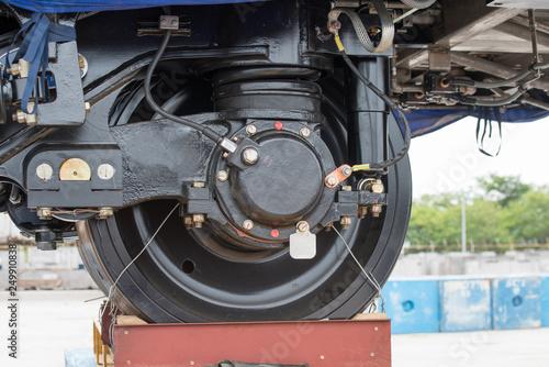 Train wheels with bogies Canvas Print