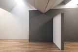 Contemporary gallery interior with copyspace