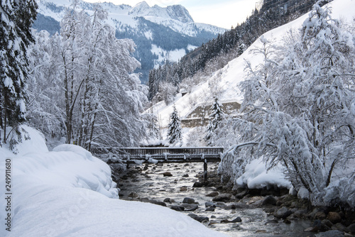 Fotografie, Obraz  austria, alps, snow, mountains, river, winter, skiing, sunset