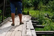 Summer Landscapes Along Small River In Countryside. Broken Wooden Bridge Walkway. Tourist Walk.