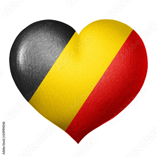 Fotografía  Belgian flag heart isolated on white background. Pencil drawing.