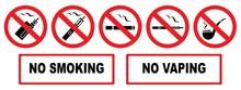 No Smoking. No Vaping. Set Prohibition Icons