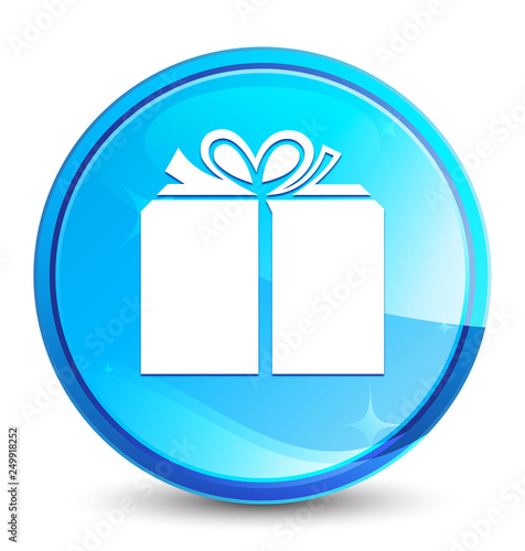 Gift Box Icon Splash Natural Blue Round Button Buy This Stock Vector And Explore Similar Vectors At Adobe Stock Adobe Stock