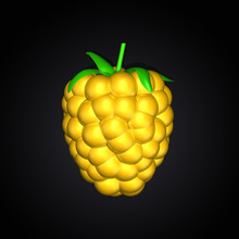 One Golden Yellow Berry, Blackberry, Raspberry ,dewberry On Dark Black Background. Top View. Lighting. 3d Illustration.  High Resolution.