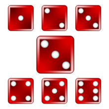 Red Six-Sided Dice Vector Illustration Icon Symbol Graphic