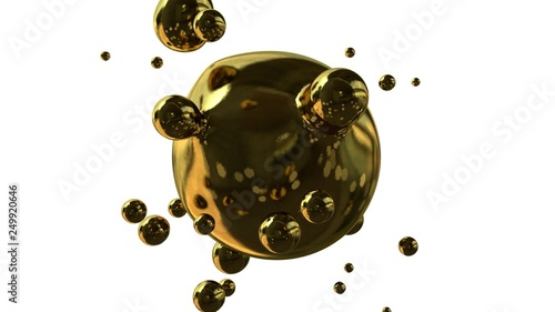 Photo 3D illustration of Golden drops in weightlessness, abstraction, futuristic background, the idea of synthesis and luxury