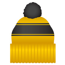 Yellow And Black Puff Ball Stocking Cap Beanie Hat Vector Illustration Icon Symbol Graphic