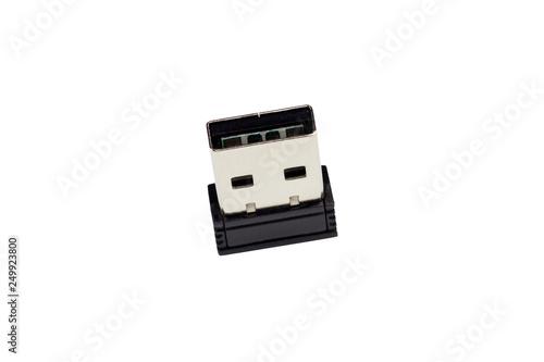 Fotografia  mini USB memory stick on a white background upright