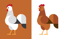 White And Brown Rooster Flat Icon.