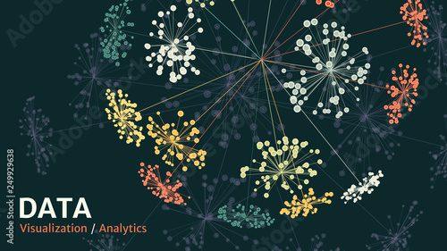 Fototapeta Vector abstract big data visualization. Visual information complexity. Information clustering representation. obraz