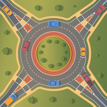 Roundabout Road With Car. Crossing Of Highways By Type Of Ring Intersection.