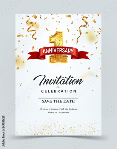 Fototapeta Invitation Card Template To The Day Of The 1 Anniversary With Abstract Text Vector Illustration Golden Number 1 With Red Ribbon On Falling