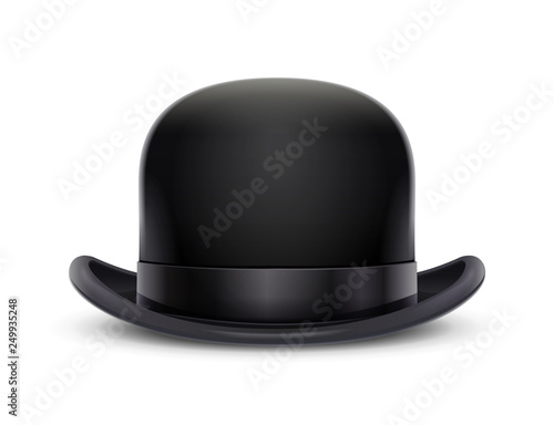 Obraz Vintage classic bowler hat. Stylish headgear for gentleman. Retro wear accessory. Male fashion. Trendy clothes. Isolated white background. Eps10 vector illustration. - fototapety do salonu