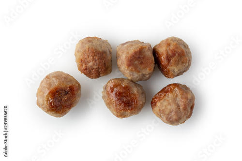 Grilled meatballs on white isolated background Fototapeta