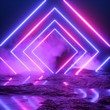 canvas print picture - 3d render, abstract ultraviolet background, neon light, cosmic landscape, square portal, pink blue lines, virtual reality, energy source, blank space, laser show, smoke, fog, ground