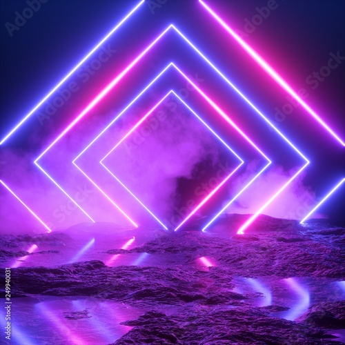 Obraz 3d render, abstract ultraviolet background, neon light, cosmic landscape, square portal, pink blue lines, virtual reality, energy source, blank space, laser show, smoke, fog, ground - fototapety do salonu