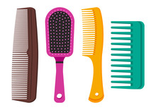 Colorful Set Of Different Hair Combs. Vector Illustration