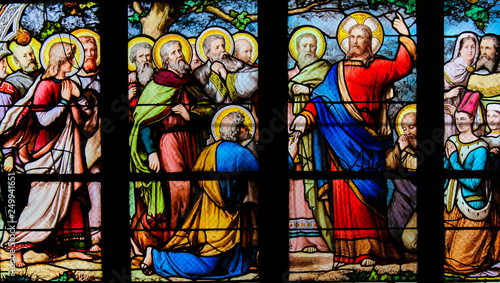 Jesus handing over the Keys to the Kingdom of Heaven to Saint Peter - Stained Gl Canvas Print