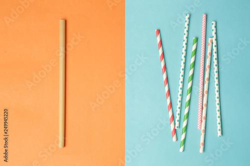 Obraz na płótnie Reusable bamboo straws as an alternative for single-use plastic straws