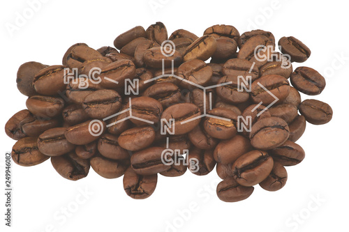 Fotografie, Obraz  Closeup of coffee beans and highlighted molecule scheme of caffeine