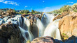 canvas print picture - Epupa Falls at Frontier Namibia Angola - Main Fall
